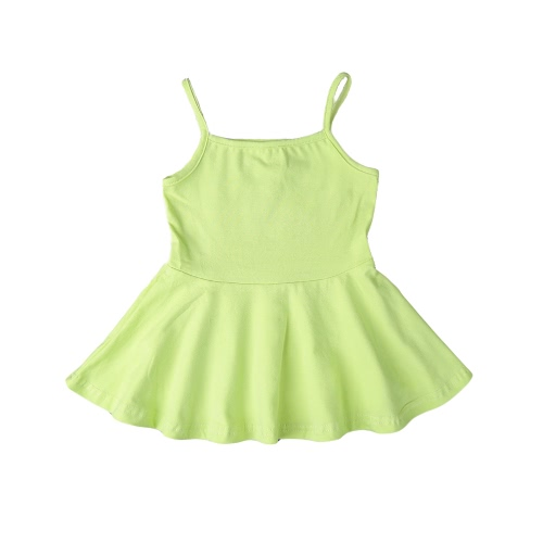 Summer Cute Baby Girls Mini Dress Solid Color Spaghetti Strap Square Collar Princess A-Line Dress от Tomtop.com INT