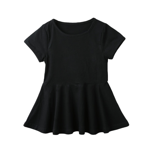 Buy Cute Girls Mini Dress Solid Color Flared Shape Round Neck Short Sleeve Casual One-Piece