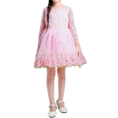 Buy Cute Kids Girls Organza Dress Lace Embroidery Flower Bowknot O Neck Back Zipper Children Princess White/Pink