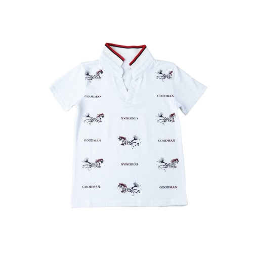 Buy Fashion Boys Kids T-Shirt Turn-Down Collar Short Sleeves Horse Letter Print Casual Tops Tee White