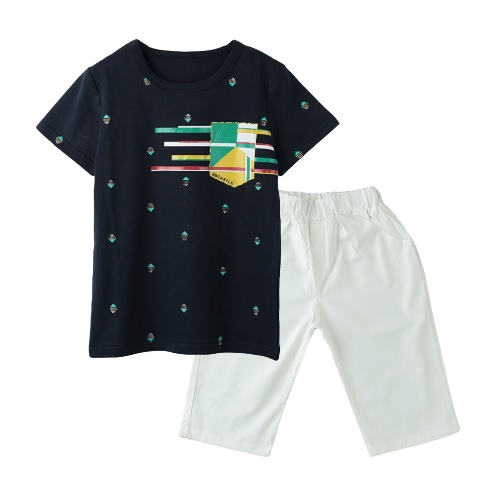 Buy Fashion Boys Two Piece Set T-shirt Mid Length Shorts Contrast Pattern Print Elastic Waist Pockets Casual Clothing Sets Dark Blue