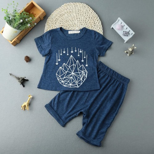 Buy Fashion Kids Baby Boy Two-Piece Set Short Sleeve Printed T-Shirt Cropped Trousers Pants Toddler Children Outfits Suits Blue