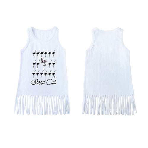 New Unisex Baby Boy Girl Summer Tee Round Neck Sleeveless Cartoon Print Tassel Long Vest Tee White от Tomtop.com INT