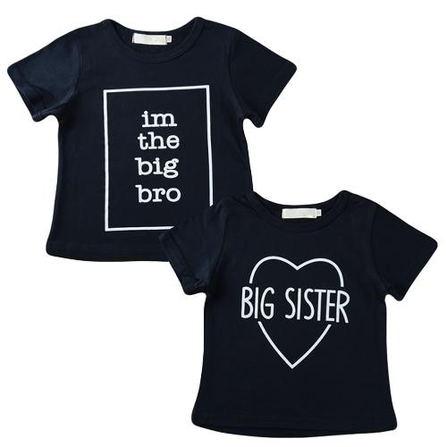 Buy Boys Kids T-shirt Top Letter Print O-Neck Short Sleeve Pullover Cute Casual Children Shirt Dark Blue