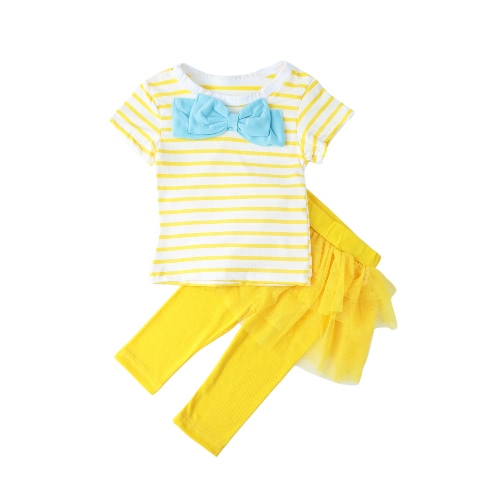Girls Kids Two-Piece Set Contrast Stripe Bow O-Neck Top T-Shirt Tutu Skirt Leggings Culottes Suit Outfit Sets от Tomtop.com INT