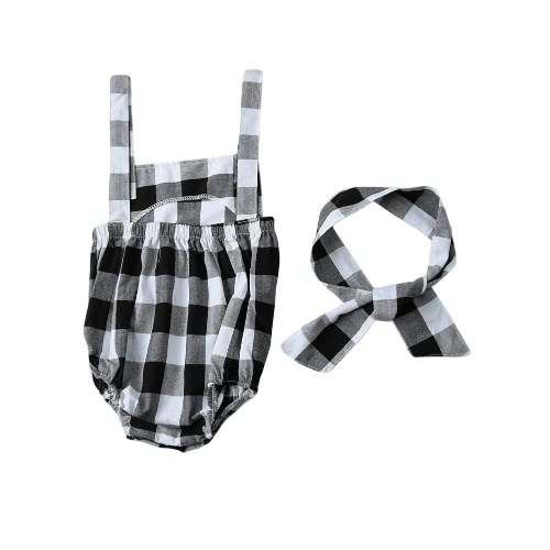Buy Fashion Newborn Infant Baby Girls Jumpsuit Strap Backless Plaid Covered Button Headband Toddler Romper Outfits Black/Pink