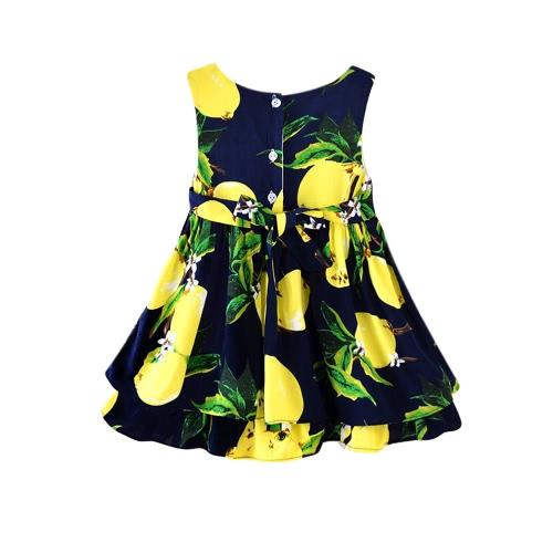Buy Cute Kids Girls Dress Print Bow O-Neck Sleeveless Button Closure Self Tie A-Line Princess Yellow/Pink/Dark Blue