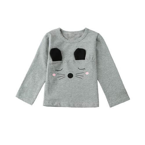 Buy Fashion Kids Baby Girl Cotton T-Shirt Cute Ear Whisker Pattern Long Sleeve Casual Soft Toddler Tee Tops White/Pink/Grey