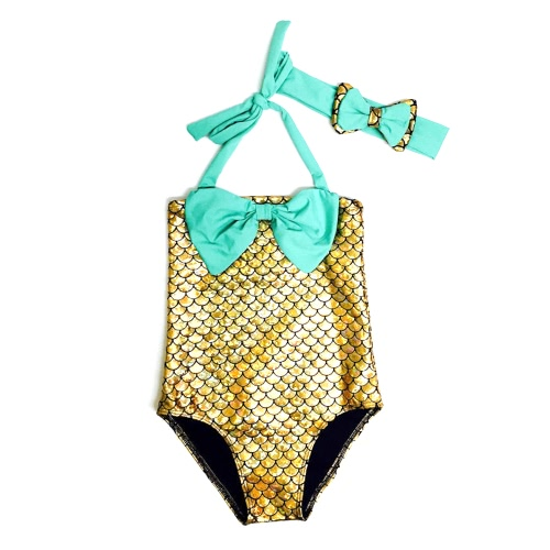 Buy Swimwear Hairband Girls Mermaid Bikini Swimsuit Bathing Suit Costume Kids Toddler