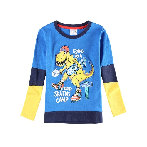 Buy Boys Kids T-Shirt Top Cotton Cartoon Print Color Block Splice O Neck Long Sleeve Cute Casual Children Blue