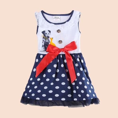 Buy Fashion Cute Baby Kids Girl Sleeveless Dress Dot Print Bow Dog Pattern Lace Princess Toddler White