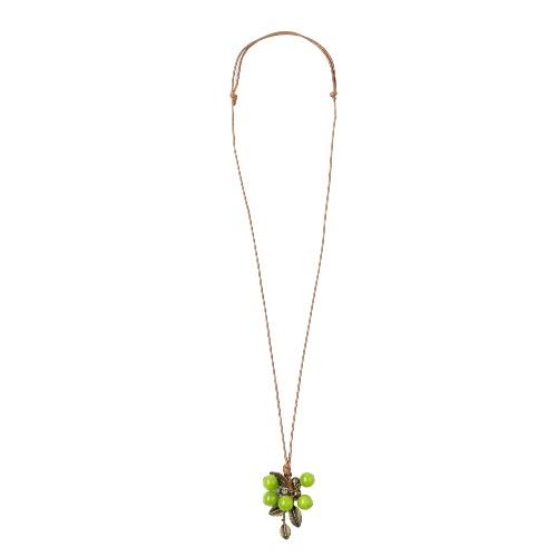 Buy Fashion Women Green Bodhi Leaf Necklace Vintage Bead Pendants Bohemia Long Rope Chain Sweater Jewelry