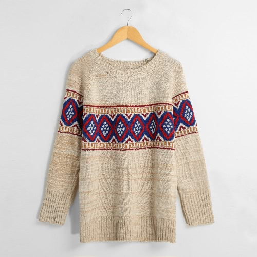 Autumn Winter Thick Pullover Geometric Long Sleeve Women's Knitted Sweater