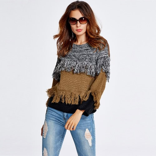 Buy Fashion Women Long Sleeve Knitted Sweater Tiered Tassel Fringe O Neck Casual Loose Jumper Pullover Knitwear
