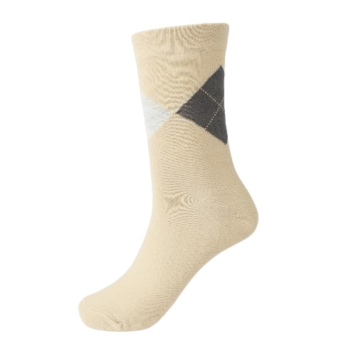 New Fashion Men Socks Contrast Geometric Print Breathable Casual Sports Long Socks Business Dress Socks