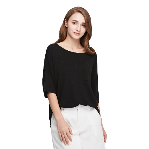 Buy Fashion Women T-Shirt Front Pocket Round Neck Half Sleeve Knitwear Pullover Top Black/Orange/Blue