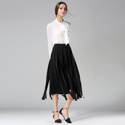 Buy Fashion Women Midi Skirt Tassel Fringe High Waist Split Solid OL Slim A-Line Long White/Black