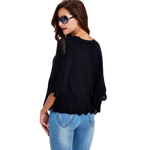 New Women Knitted Sweater Solid Color Hollow Out Round Neck Long Sleeve Warm Pullover Tops Knitwear