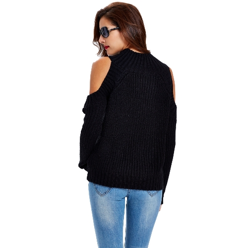New Women Knitted Sweater Turtle Neck Cold Shoulder Vertical Stripes Knitting Warm Pullover Tops