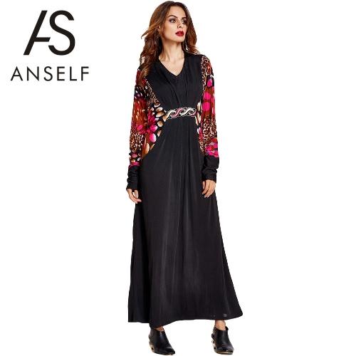 Buy Anself New Women Muslim Long Dress Print Splicing V Neck Batwing Sleeve Vintage Loose Kaftan Islamic Abaya Jilbab Robe Black