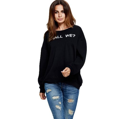 Buy Fashion Women Sweatshirt Letter Print Round Neck Long Sleeves Sweater Pullover Blue/Black