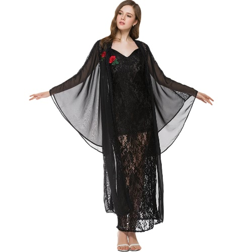 Women Chiffon Blouse Kimono Cardigan Lace Shawl Oversized Tops Flare Sleeve Outwear от Tomtop.com INT
