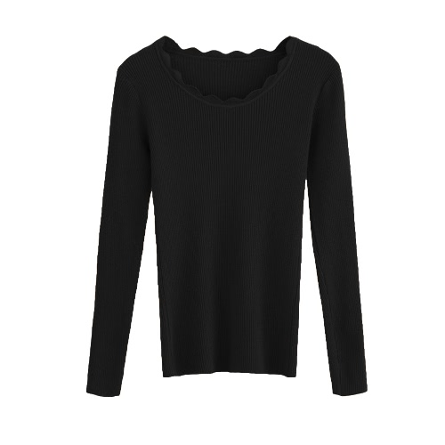 New Women Knitted Sweater Long Sleeve Solid Slim Autumn Winter Pullover Basic Thin Knitwear Top