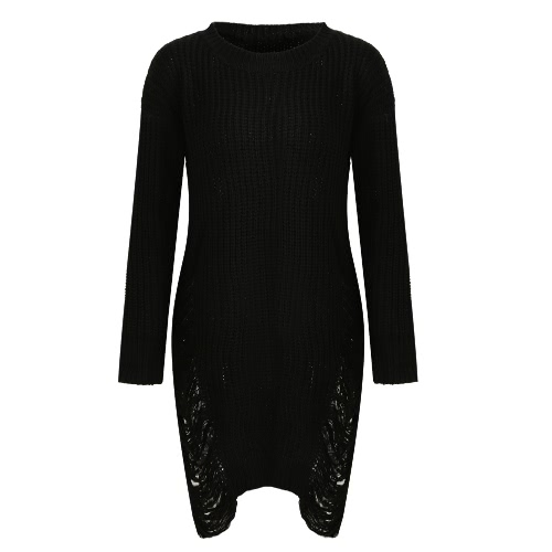 Buy Fashion Women Ripped Knitted Sweater Dress O Neck Long Sleeve Destroyed Irregular Oversized Pullover Knitwear