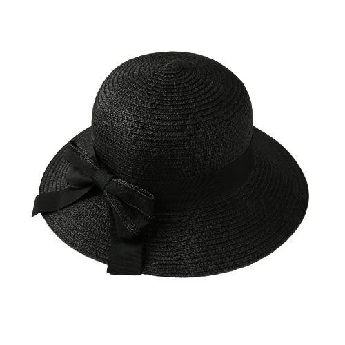 New Fashion Women Bow Straw Hat Wide Brim Solid Summer Beach Sun Cap Floppy Trilby Hat Black/Beige/Pink