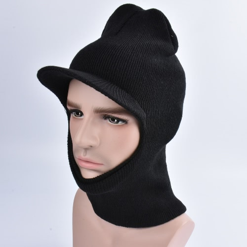 Buy Unisex Knitted Hat Neck Warmer Beanie Visor Peak Whole Face Mask Ski Balaclava Long Cap Headwear Black