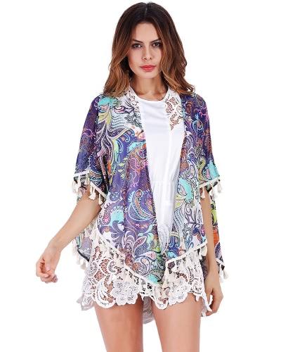 Buy Women Chiffon Tassels Kimono Cardigan Boho Ethnic Print Fringed Loose