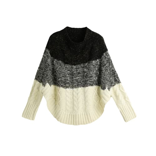 Buy Fashion Women Knitted Sweater Contrast Color Bat Sleeve Irregular Hem Loose Warm Pullover Jumper Tops Beige/Black