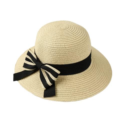 Buy Fashion Women Bow Straw Hat Wide Brim Solid Summer Beach Sun Cap Floppy Trilby Black/Beige/Pink