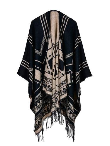 Buy Fashion Women Poncho Cardigan Sweater Geometric Tassels Fringed Faux Cashmere