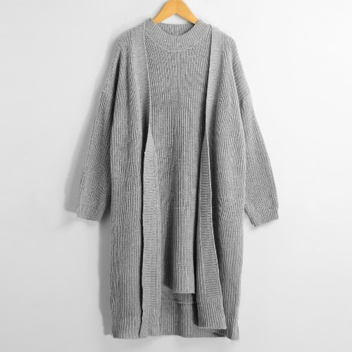 Buy Women Winter Sweater Cardigan Pullover Knitted Dress Two-piece Set Grey/Light Grey/Khaki