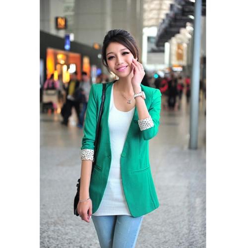 Buy Women's Casual Boyfriend Blazer One Button Suit Jackets Coat Collarless Dot Lining Green