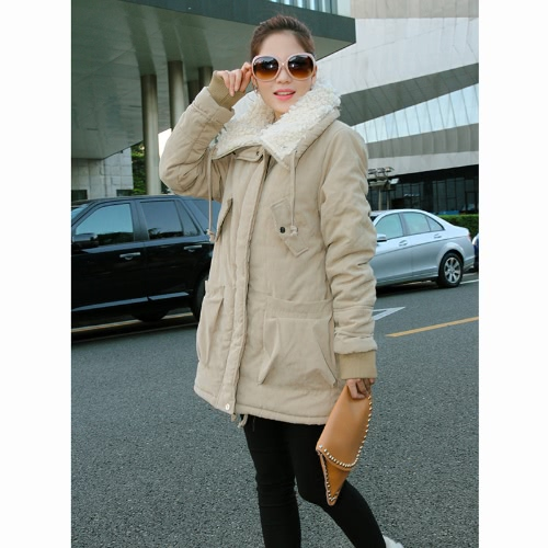Women's Lady Fleece Parka Coat Zip Overcoat Long Jacket Warm