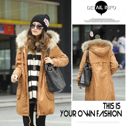 Buy Women's Warm Winter Coat Quilted Hooded Parka Overcoat Long Jacket Outwear