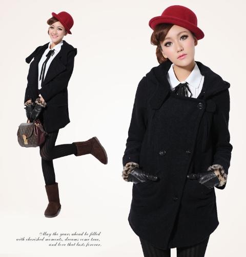 Buy Women's Winter Wool Hooded Trench Coat Jacket Outerwear
