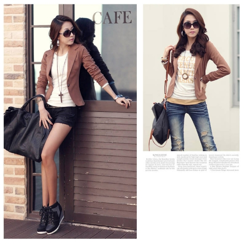 Buy Fashion Lady Women Blazer Slim One Button Long Sleeve Leisure Coat Jacket Coffee