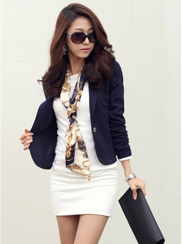 Buy Fashion Lady Women Blazer Slim One Button Long Sleeve Leisure Coat Jacket Dark Blue