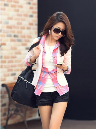 Buy Fashion Lady Women Blazer Slim One Button Long Sleeve Leisure Coat Jacket Pink