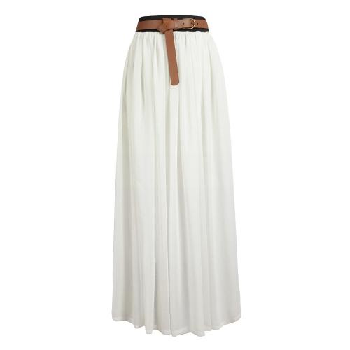 Buy Fashion Summer Women Ladies Chiffon Skirt Maxi Long Pleated Double Layer Retro Elastic Waist White