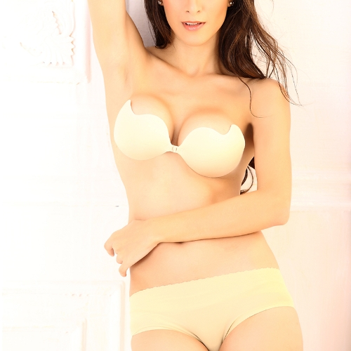 Sexy Magic Strapless Mango-shape Bra Push-up Lift Front-closure Silicone Bust Self-adhesive Backless Invisible Beige