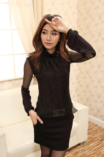 Buy Sexy Fashion Women Ladies Dress Long Sleeve Slim Skinny Party Evening One-piece Black Golden Mesh