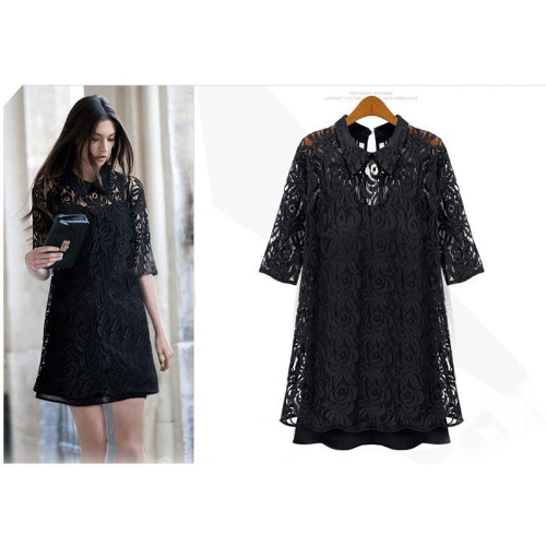 New Fashion Summer Women's Dress Lace Hollow Out Half Sleeve Casual Party Black
