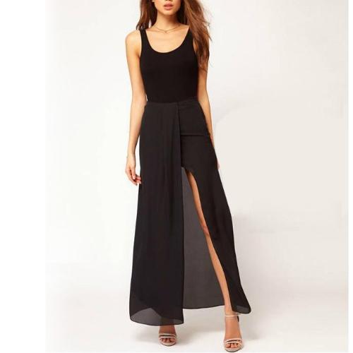 Buy Sexy Boho Retro Women Chiffon Skirt Open Side Split Solid Long Maxi Black