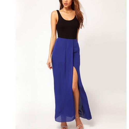 Buy Sexy Boho Retro Women Chiffon Skirt Open Side Split Solid Long Maxi Blue