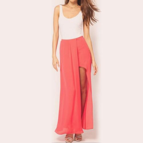 Buy Sexy Boho Retro Women Chiffon Skirt Open Side Split Solid Long Maxi Watermelon Red