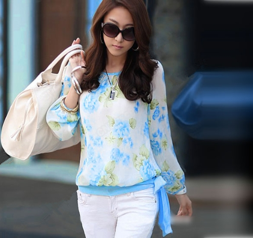 New Fashion Women Chiffon Shirt Floral Print Long Sleeve Blouse Top Casual Blue